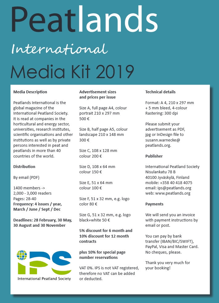 media kit advertisements peatlands international